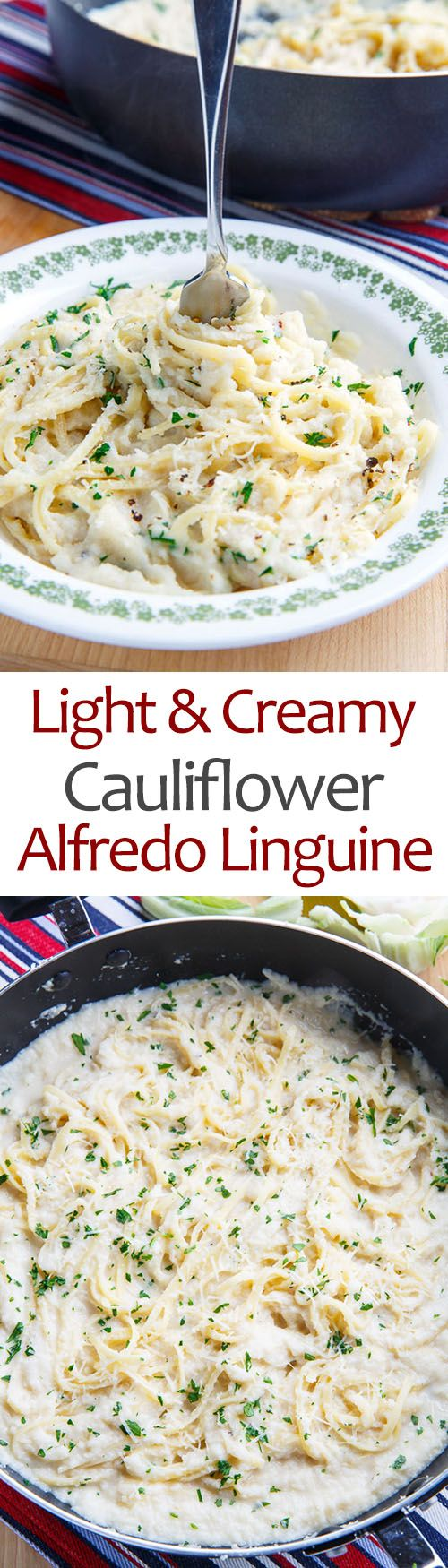 Light and Creamy Cauliflower Alfredo Linguine--Alfredo pasta is such a decadent treat with all of the butter, cream and parmesan cheese and although I want to be able to enjoy it every night I know that's probably not the best idea... So how about a lighter and healthier version that you can eat every night? How about one that uses a cauliflower sauce that's just as creamy and has all of that great butter, parmesan and garlic flavour?