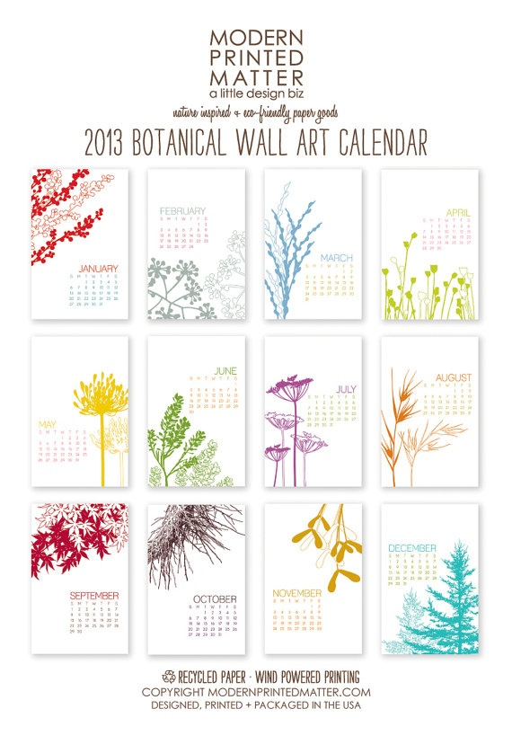 2013 Calendar / Botanical / Wall by ModernPrintedMatter on Etsy, $24.00