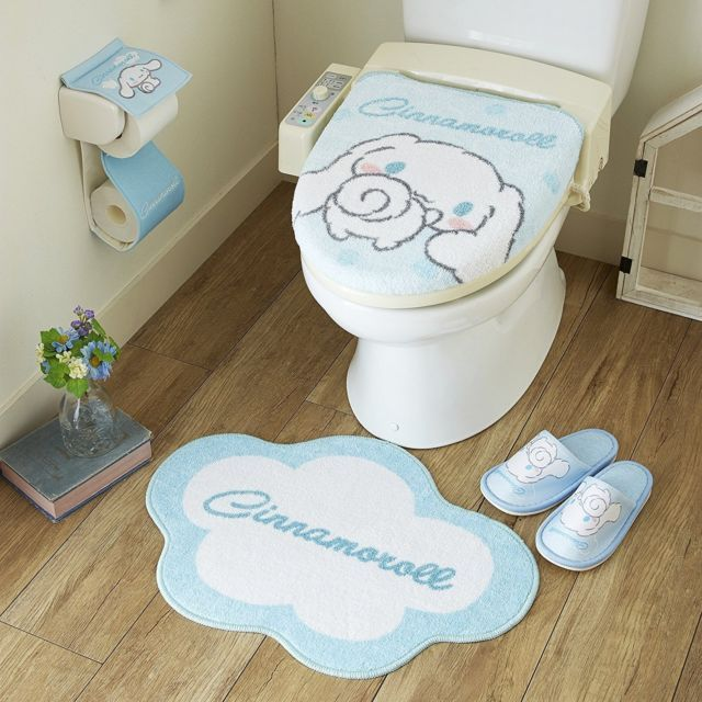 Sanrio Cinnamoroll Toilet Seat Paper Cover Set With Matt Slipper Japanese Toilet Cute Furniture Sanrio Bedroom