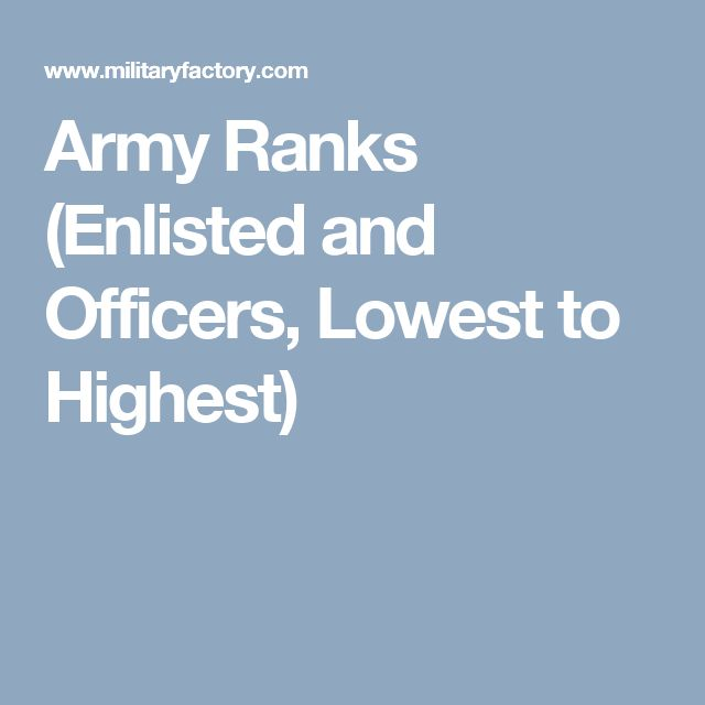 Army Ranks (Enlisted and Officers, Lowest to Highest)