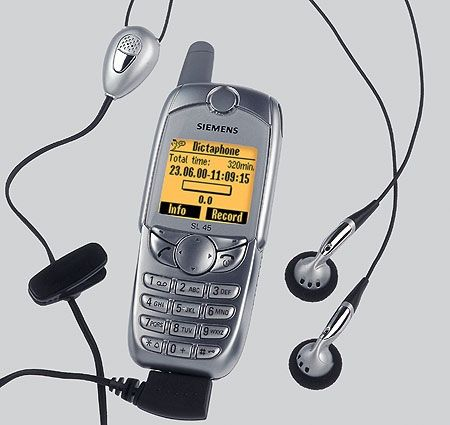 Siemens SL45 was the first mobile phone with memory expansion and an MP3 player, which debuted in 2001. I have one with 32mb mmc :) i love it