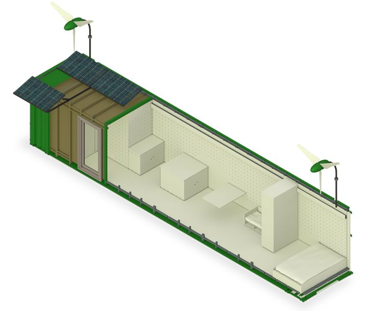 Completely selfsustainable moveable containerhome including waterfilters, constructed wetland for watertreatment, PV-panels etc.