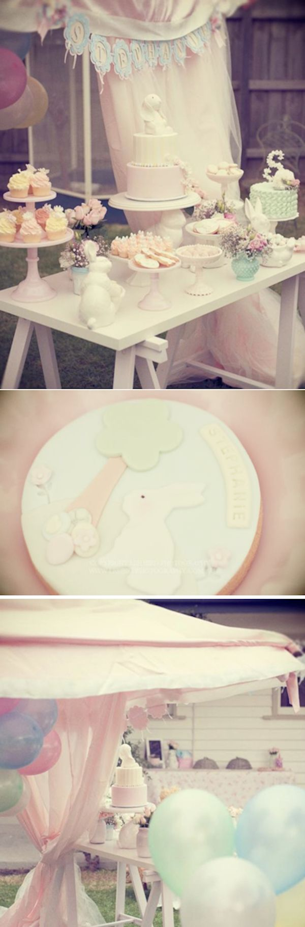 A Very Bunny 1st Birthday Party full of the cutest ideas ever! Via Karas Party Ideas KarasPartyIdeas.com Adorable spring and Easter party ideas, too!