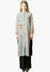 Admyrin Off White Printed Tunic Online Shopping Store