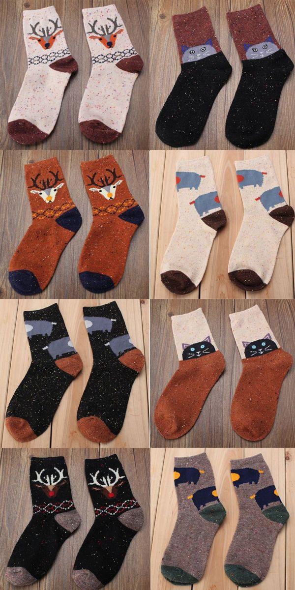 Women Wool Warm Socks Deer Cat Elephant Catoon Animal Pattern Stockings