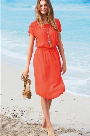 Coral Split Sleeve Dress