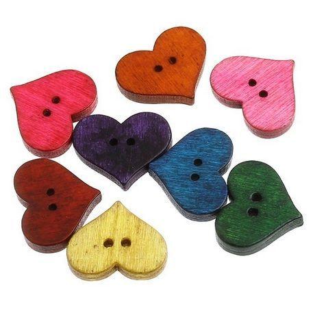 knoflíky srdce dřevo