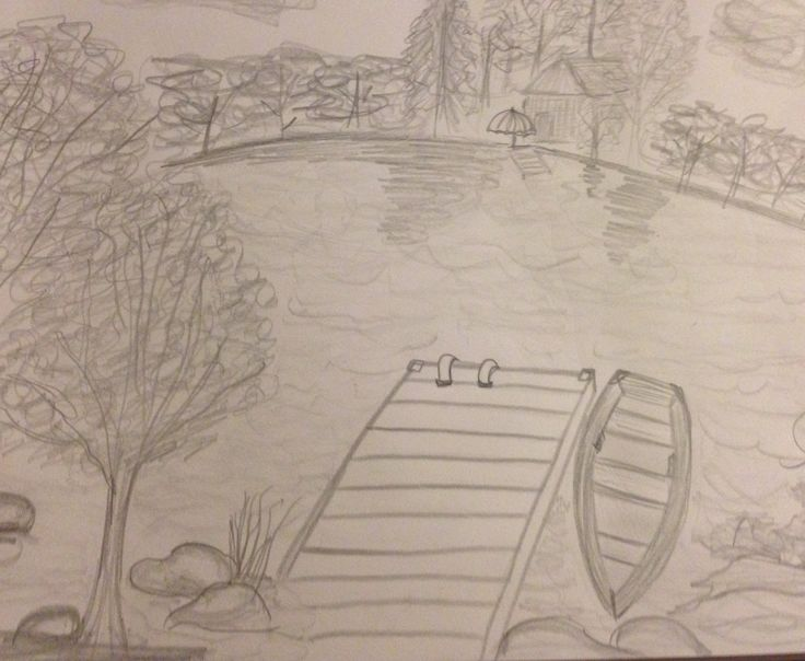 Quiet time on the dock!  Pencil drawing of lake