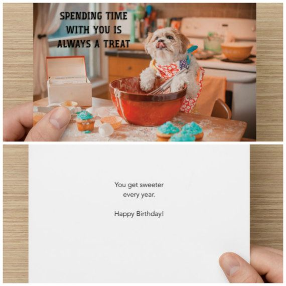 "The Frumpy Dog Birthday Card: ""Spending time with you is always a treat. You get sweeter every year. Happy Birthday!"""