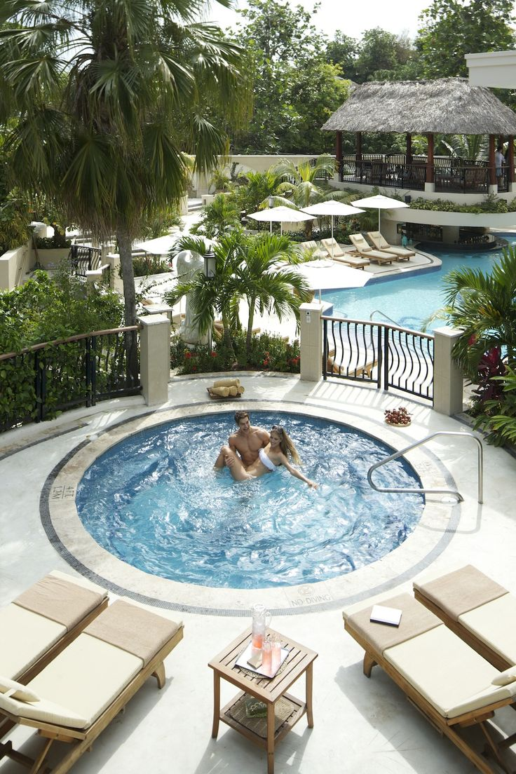Relax at one of our hidden jacuzzi's #sandalsgranderiviera