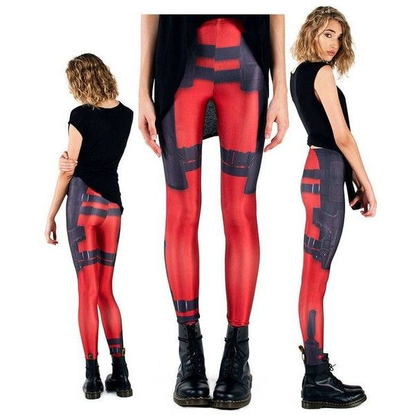 Deadpool Leggings for the Geek Girls Who Love Deadpool GeekTyrant ❤ liked on Polyvore featuring marvel and pants