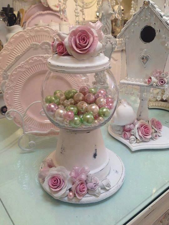 Clay pots and fish bowl - DIY gumball machine, vintage - shabby - from Vintage Sisters