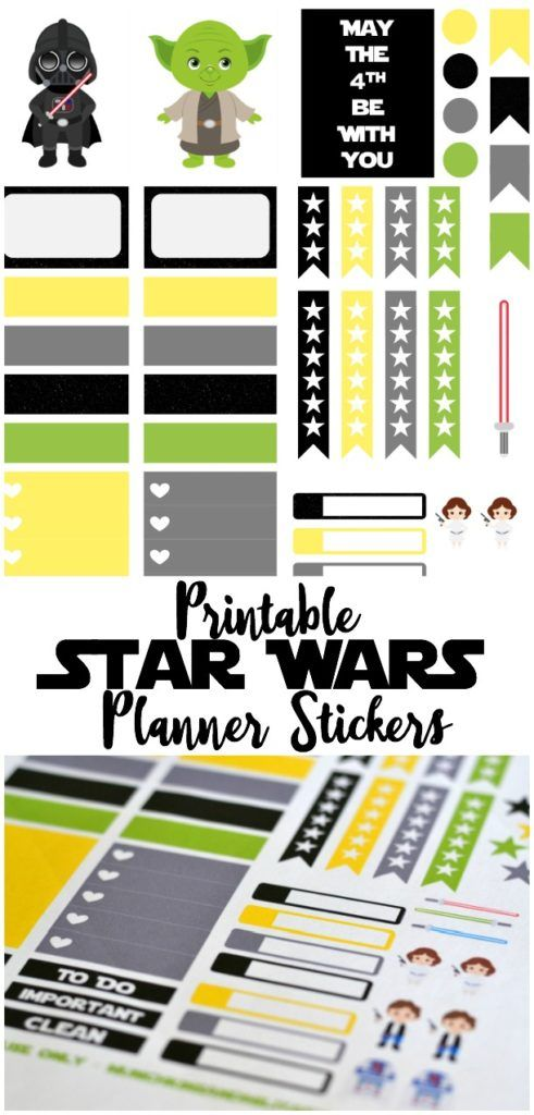 Free Star Wars themed printable planner stickers for your Erin Condren Life Planner #printable