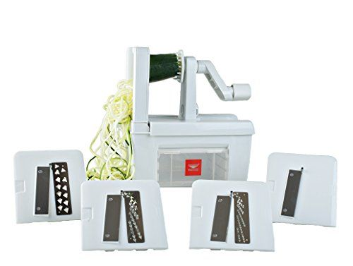 Paderno Entire world Cuisine Folding Spiral Vegetable Slicer / Countertop-Mounted Plastic Spiralizer Professional incl. four Different Blades Made of Stainless Metal - Hifow - http://howto.hifow.com/paderno-entire-world-cuisine-folding-spiral-vegetable-slicer-countertop-mounted-plastic-spiralizer-professional-incl-four-different-blades-made-of-stainless-metal-hifow/