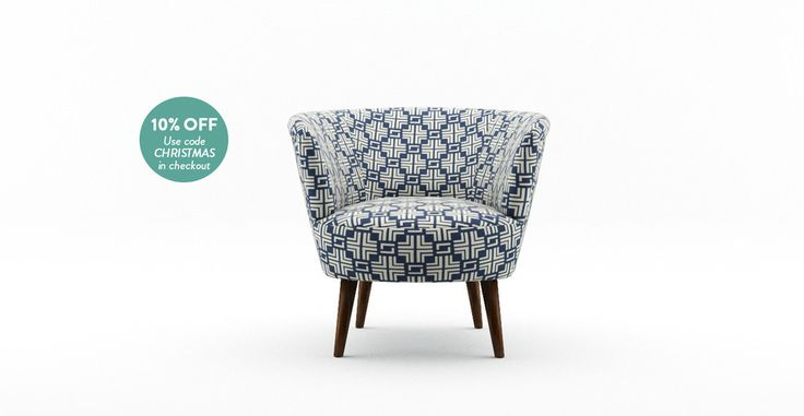 Picture of The Nora Chair - Coral Blue Print