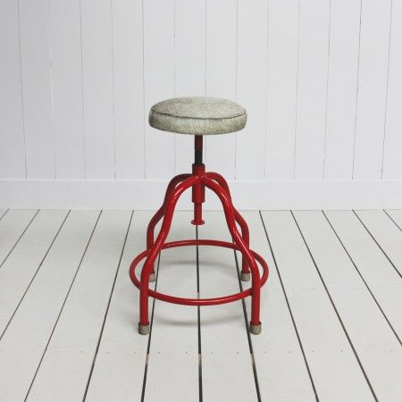 £135  Industrial and Cowhide stool  http://www.grahamandgreen.co.uk/red-and-cowhide-stool