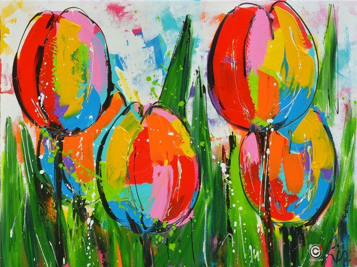 Dit is een: Acrylverf op doek, titel: 'Kleurige tulpen' kunstwerk vervaardigd door: Liz