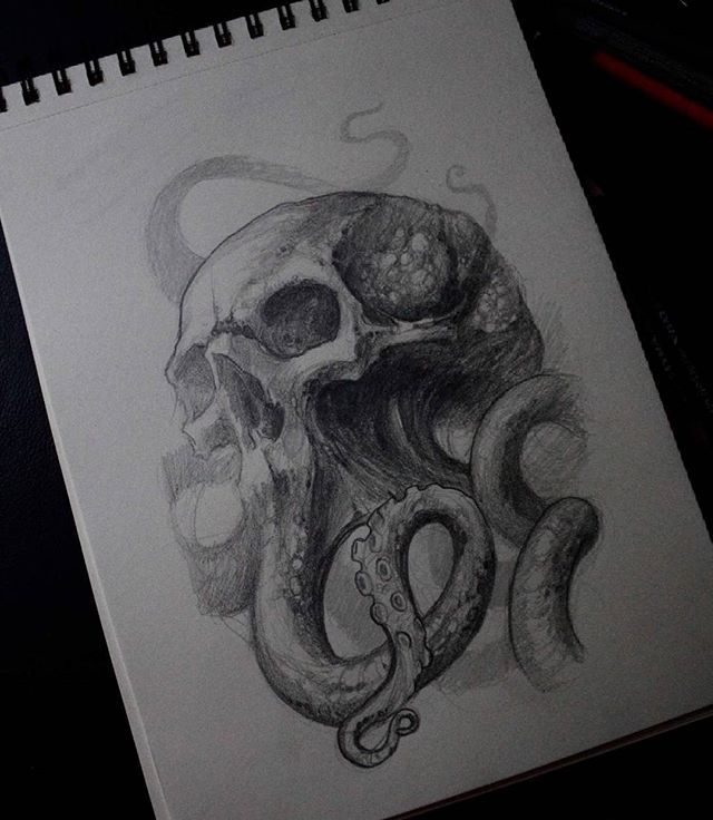WEBSTA @ matiasfelipe_ds - #draw #sketch #skull #octopus