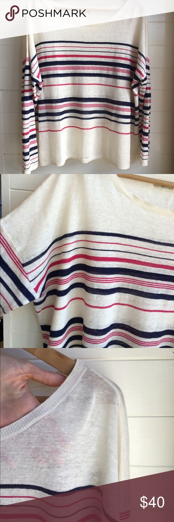 Josie Boxy Sweater Bright white with thin pink and navy blue stripes. Box fit with long sleeves. Slightly sheer. In excellent condition. From Nordstrom. Tag has been cut off. Would fit medium or large.                                                                         ✖️Please no lowball offers or trades  ➕ Bundle for 15% off  ✔️Check out my co-closets, bundle between all three- one bundle, one shipping fee!! Joie Sweaters Crew & Scoop Necks
