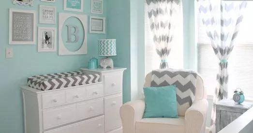 Un Bello Dormitorio Infantil en verde agua y el gris para espacios tranquilos