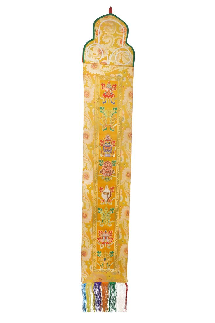 Tibetan Silk Brocade Wall Hanging With 8 Auspicious Lucky Symbols(FH-WH-1036YLW)