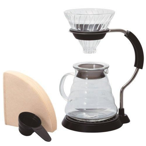 This Glass Hario V60 Pour Over Set provides an all-in-one experience with Hario's V60 product line. If you're looking for coffee gear that fits together and performs seamlessly, you've found it.