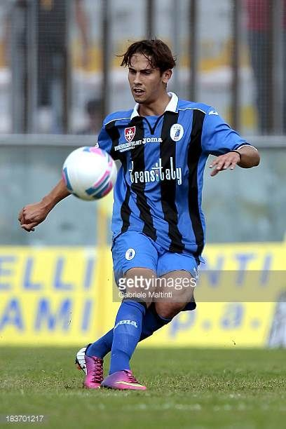 Edoardo Galdaniga of AC Pisa 1909 in action during the LegaPRO match between AC Pisa 1909 and US Pontedera on October 6 2013 in Pisa Italy