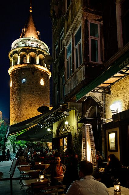 Galata Tower - is a medieval stone tower in the Galata/Karaköy quarter of Istanbul. One of the city's most striking landmarks, it is a high, cone-capped cylinder that dominates the skyline and offers a panoramic vista of Old Istanbul. The nine-story tower is 66.90 meters tall and was the city's tallest structure when it was built.