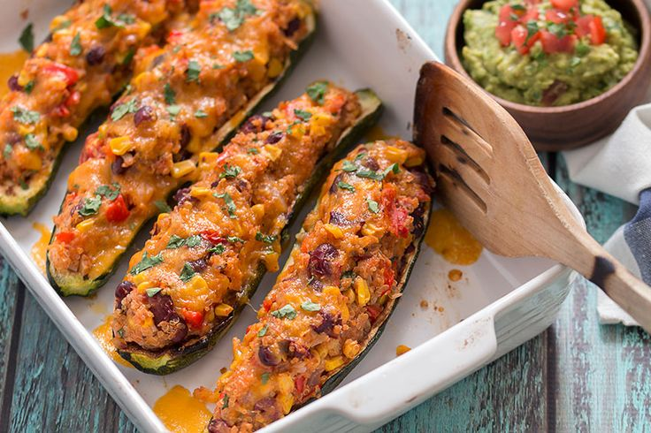 Grilled Zucchini Boats in a tray