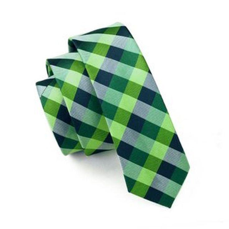 Jason&Vogue SlimLine Designer Krawatte schmal blau grün silber kariert