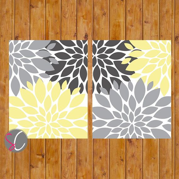 Hey, I found this really awesome Etsy listing at https://www.etsy.com/listing/159060032/floral-flower-burst-gray-yellow-set-of-2