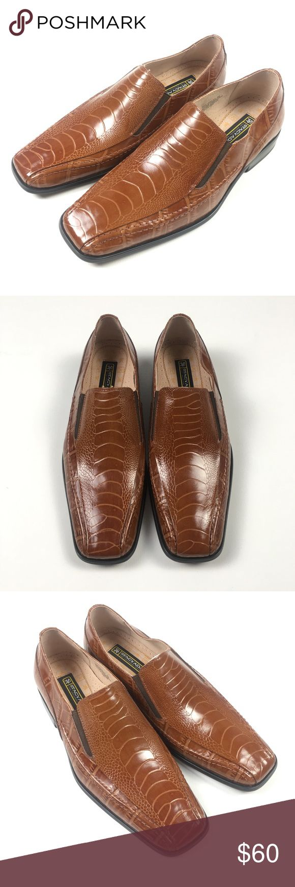 Stacy Adams Faux Croc Teague Dress Shoes 8 Brown Brand New w / Original Box Stacy Adams Shoes Loafers & Slip-Ons