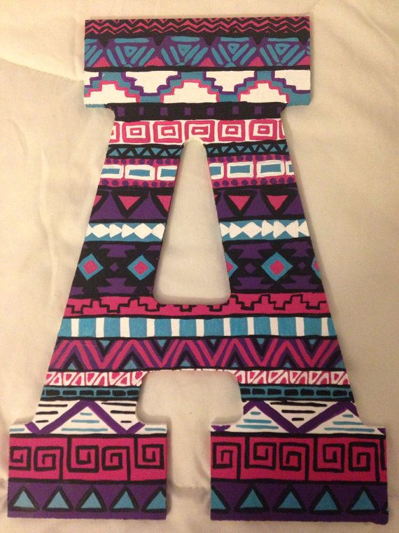 Custom Tribal Print Letters From Bridget S Craft Shop On