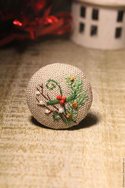 Броши ручной работы. Ярмарка Мастеров - ручная работа. Купить Рождественский букет. Handmade. Комбинированный, брошь, вышитая брошь, вышивка