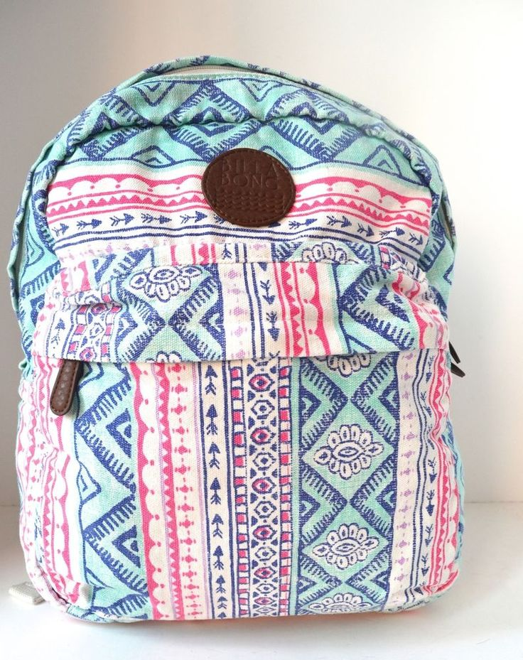 BILLABONG CAMPIN TROT GIRLS PINK SKATEBOARD SURF BACKPACK CARRY ON FALL 2014