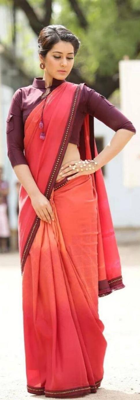 Pinterest @Littlehub || Six yard- The Saree ❤•。*゚'' || Rashi khanna in a saree with shirt inspired blouse