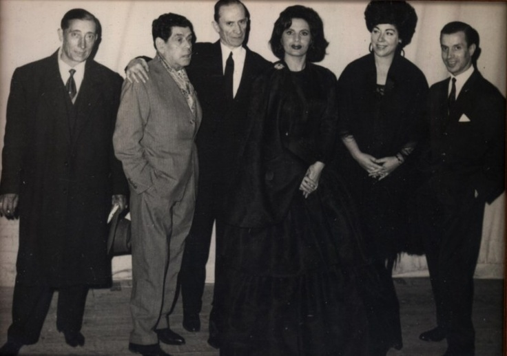 Alfredo Marceneiro, Filipe Pinto, Amália Rodrigues, Lucília do Carmo e Fernando Farinha. Teatro Tivoli, 1962.