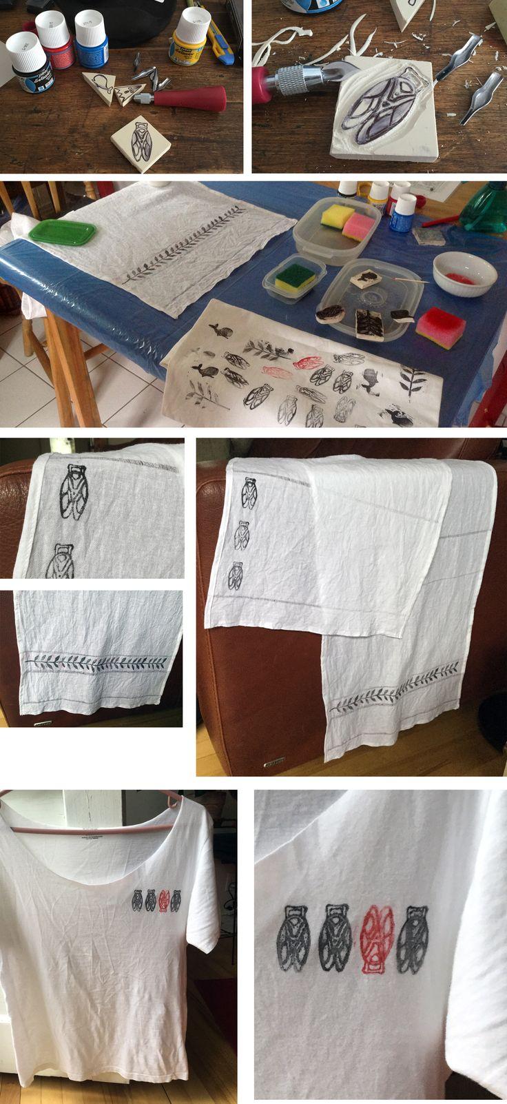 tissu stamping, impression tissu, печать по ткани, diy stamps