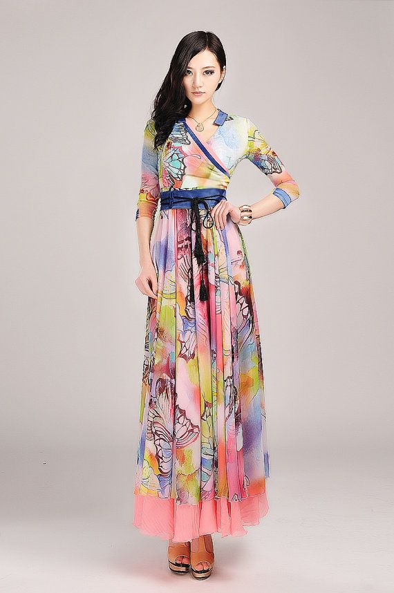Stunning floral print, 3/4 sleeve maxi dress by Lilyfashionshop