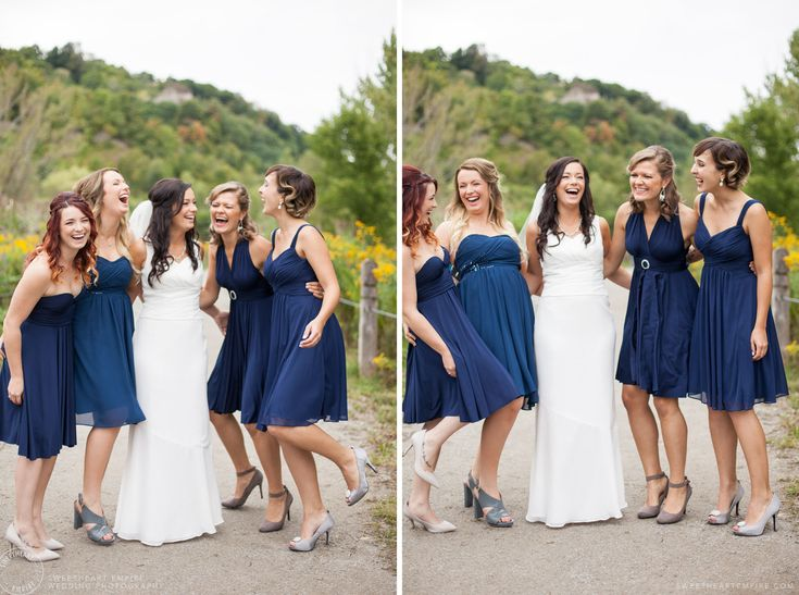Bridesmaids in Navy dresses - Scarborough Bluffs Wedding, Bluffers Park #sweetheartempirephotography