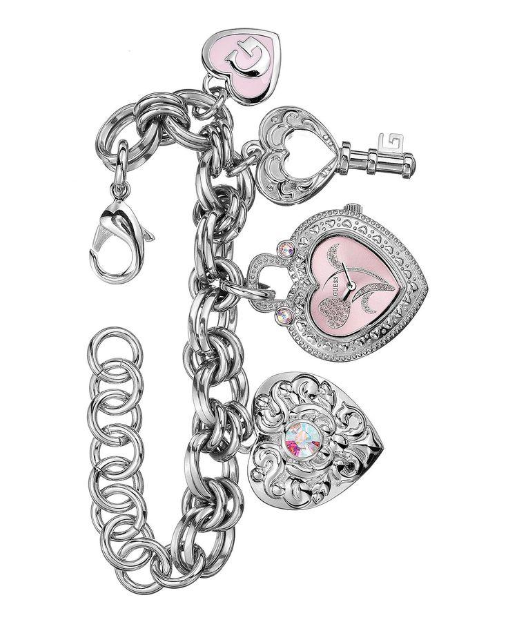 GUESS Watch, Women's Heart Charm Bracelet 17mm U95038L1 - All Watches - Jewelry & Watches - Macy's