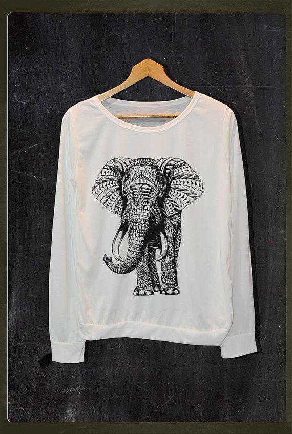 Elephant Animals Graphic Pop Rock Shirt Long Sleeve Jumper Women Freesize on Etsy, $18.99