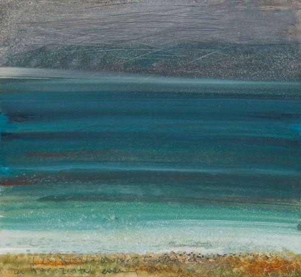 Kurt Jackson: Hiding behind a boulder by the sea in horizontal evening rain. October 2011 Campden Gallery, fine art, Chipping Campden, camde...