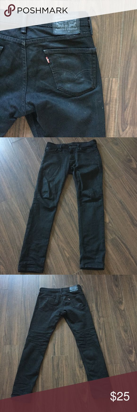 Black Levi's Jeans Men's Levi Jeans in black in size 29x32. Gently worn and in great condition! Waist 16.5 Outseam 38 Inseam 31 Levi's Jeans Slim