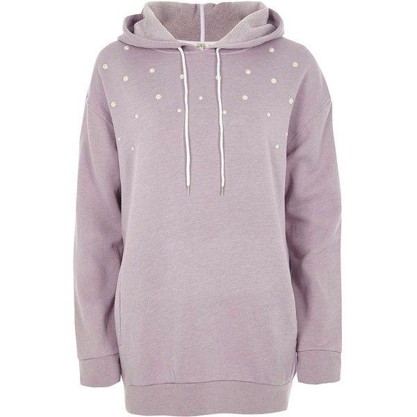 River Island Lilac faux pearl stud longline hoodie (€56) ❤ liked on Polyvore featuring tops, hoodies, hoodies / sweatshirts, women, purple top, purple hoodie, sweatshirt hoodies, long sleeve hoodies and tall tops