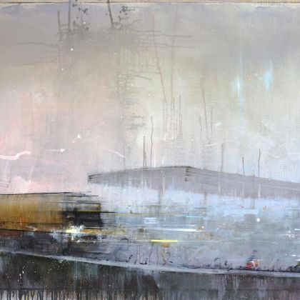 Nathan Ford Race, Oil on board 97 x 180 cm
