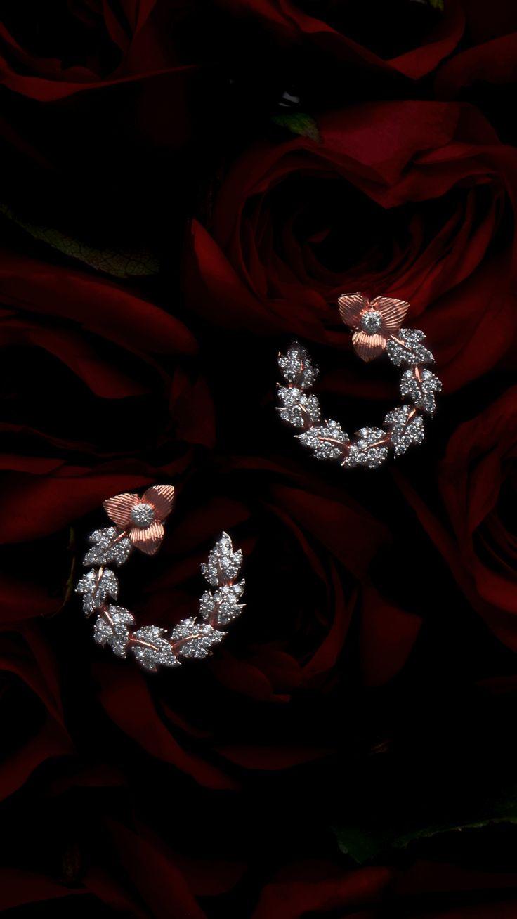 AZVA The Rose earrings with diamonds