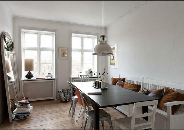 Danish inspiration: Dining Rooms, Bigger Houses, Dining Area, Benches, Living Spaces, Dining Spaces, Danishes, Dining Spots, Comfy Living