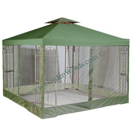 "Garden Winds Universal GREEN 10' x 10' Two-Tiered Replacement Gazebo Canopy and Mosquito Netting Set by Garden Winds. $129.99. A Four Sided Mosquito Netting Attaches to the Canopy by Zipper. The top tier measures 36"" x 36"". The outer perimeter of the main canopy is 120"" x 120"".. Velcro straps allow easy installation and attachment to gazebo.. THE MOST HIGHLY RATED UNIVERSAL REPLACEMENT CANOPY ON THE MARKET!!!. Industry leading 350-Denier fabric (on average 25% t..."