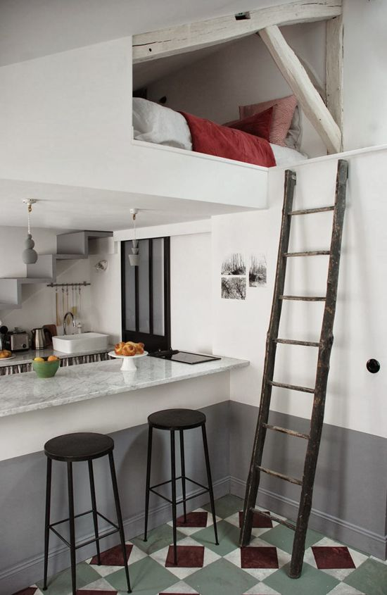 1 of 2 sleeping areas created in a tiny attic apt. by utilizing the ceiling height... 'Tiny attic apartment in Paris by Marianne Evennou'